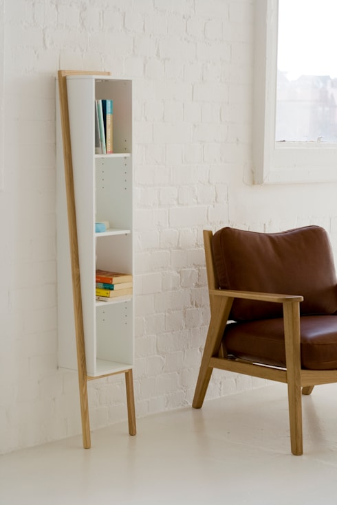 Lean Man Shelves: scandinavian Living room by And Then Design Limited