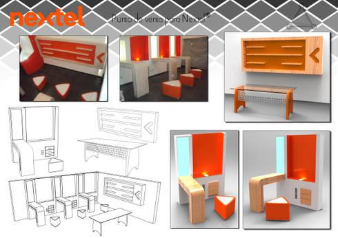 """conjunto de mobiliario """"Nextel"""": Oficinas y tiendas de estilo  por Armatoste studio"""