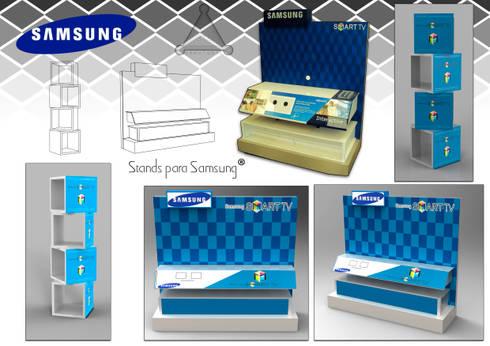 """exhibidor para televisor """"Samsung"""" : Oficinas y tiendas de estilo  por Armatoste studio"""