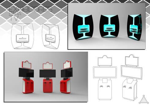 mobiliaro para exhibir televisores y videojuegos: Oficinas y tiendas de estilo  por Armatoste studio