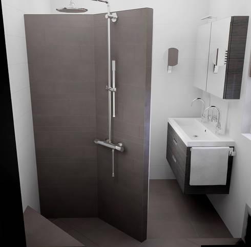 Kleine badkamer ontwerpen door sani bouw homify - Badkamer betegeld ...