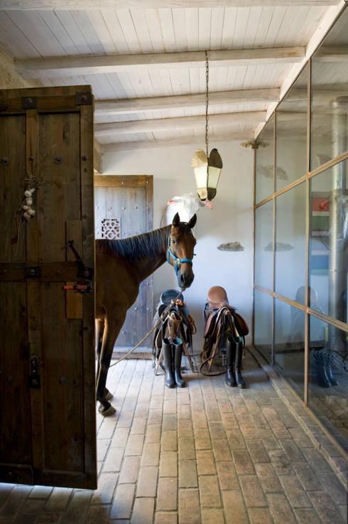 Casa de campo en Galicia: Pasillos y vestíbulos de estilo  de Oito Interiores