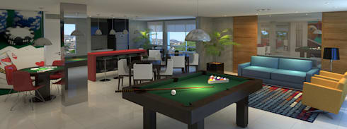 Salão de festas   Espaço gourmet   Salão de jogos: Salas multimídia modernas por Monte Arquitetura