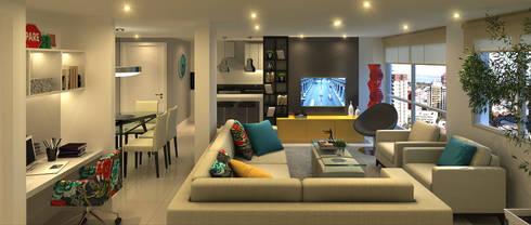 Apartamento Living Estendido: Salas de estar modernas por Monte Arquitetura