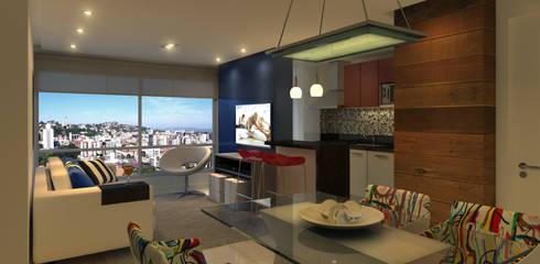 Living  Apartamento: Salas de jantar modernas por Monte Arquitetura