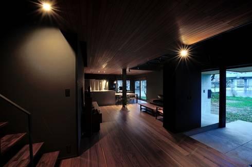 ひとつながりの空間構成: アトリエセッテン一級建築士事務所が手掛けたリビングです。