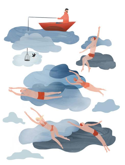 Raamillustratie 2: moderne Slaapkamer door Agnes Loonstra - Nes is More