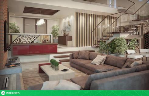 Living : Salas de estar rústicas por studio vtx
