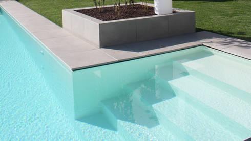 Villa moderna in legno: Giardino con piscina in stile  di Marlegno