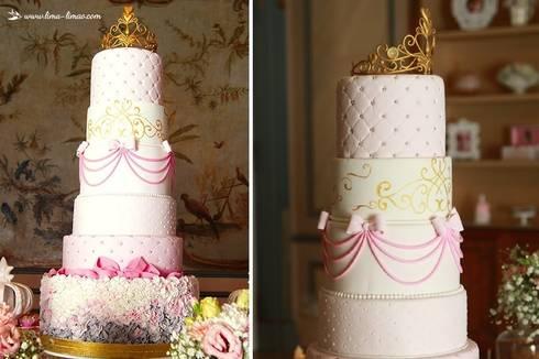 Um bolo perfeito para a Princesa Sofia: Sala de jantar  por Lima Limão-  Festas com charme