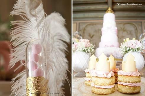 Pormenores cheios de charme e os naked cakes: Sala de jantar  por Lima Limão-  Festas com charme