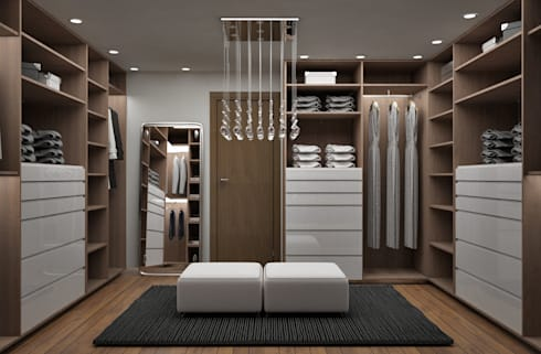 Recamara y Vestidor Moderno: Vestidores y closets de estilo moderno por Citlali Villarreal Interiorismo & Diseño