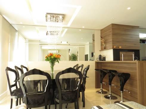 Cozinha e sala jantar: Salas de jantar modernas por Paula Oliveira Szabo Arquitetura