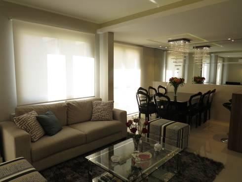 Estar e jantar: Salas de estar modernas por Paula Oliveira Szabo Arquitetura