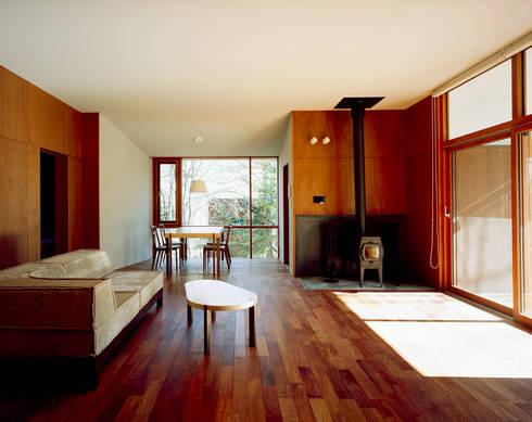 K-VILLA / 北軽井沢の別荘: 森吉直剛アトリエ/MORIYOSHI NAOTAKE ATELIER ARCHITECTSが手掛けたリビングです。