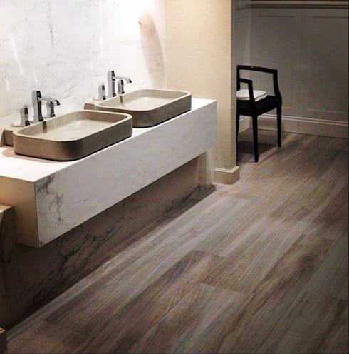 Plaza Yapı Malzemeleri – Ahşap Görününümlü seramik: minimal tarz tarz Banyo