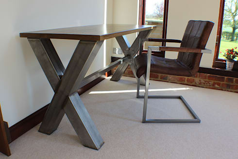 industrial office desk live edge industrial frame office desk by russell oak and steel ltd homify