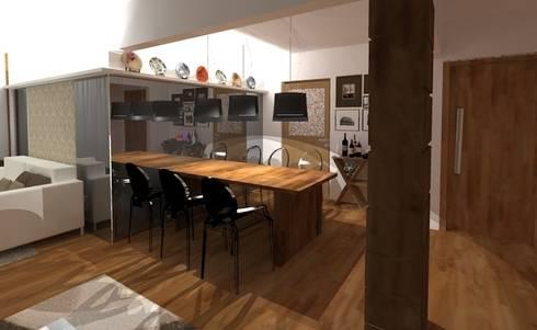 Estar e Jantar madeira e tons neutros: Salas multimídia modernas por Elaine Medeiros Borges design de interiores
