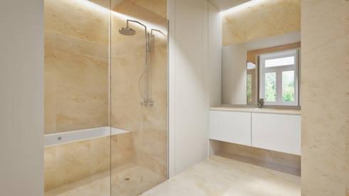 Casa em Lavra, Matosinhos: Casas de banho minimalistas por ASVS Arquitectos Associados