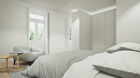 Casa em Lavra, Matosinhos: Quartos minimalistas por ASVS Arquitectos Associados