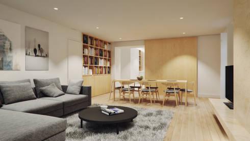 Casa em Lavra, Matosinhos: Salas de estar minimalistas por ASVS Arquitectos Associados