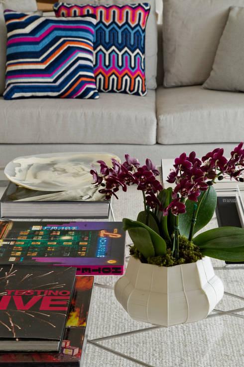 Panamby Apartment: Salas de estar modernas por DIEGO REVOLLO ARQUITETURA S/S LTDA.