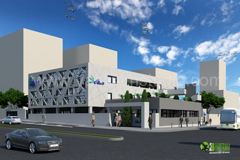 3D Commercial Office Exterior Rendering Design:  Office buildings by Yantram Architectural Design Studio
