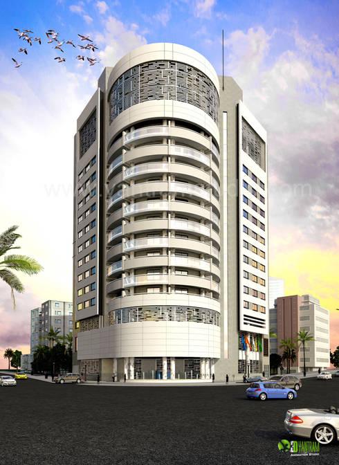 3D Corporate Architectural Exterior Design Rendering:  Artwork by Yantram Architectural Design Studio