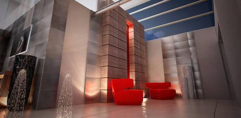 Casa Las Cumbres: Salas de estilo ecléctico por STUDIO ALMEIDA DESIGN
