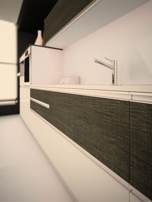 Línea Zen laminado: Cocinas de estilo minimalista por Amoblamientos Reno