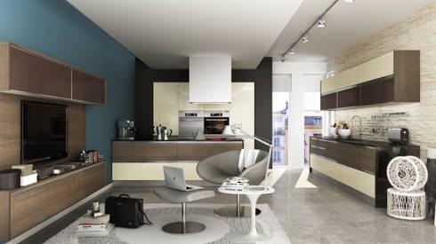 Línea Zen polímero: Cocinas de estilo minimalista por Amoblamientos Reno