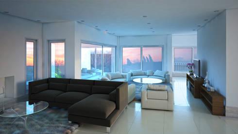 Sala de estar e Lareira: Sala de estar  por Eliana Berardo Arquitetura e Construção