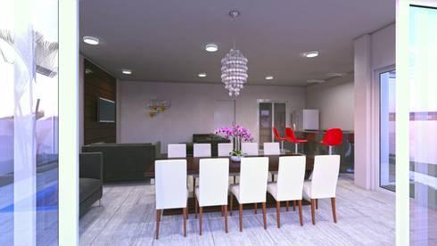 Home e espaço gourmet: Sala de jantar  por Eliana Berardo Arquitetura e Construção
