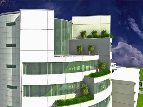 TORRE SOTAVENTO: Estudios y oficinas de estilo moderno por ARQUITECTO - JESUS A. MARTINEZ LARA