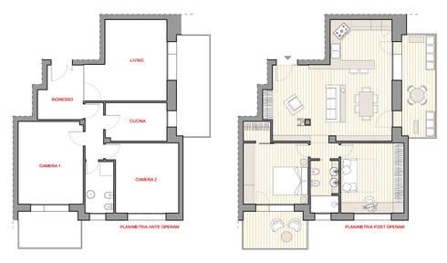 Ambiti che nascono intorno ad un vincolo presistente di silvia panaro architettura e design homify for Planimetrie case