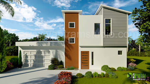 3D Exterior Home Design Rendering:  Artwork by Yantram Architectural Design Studio