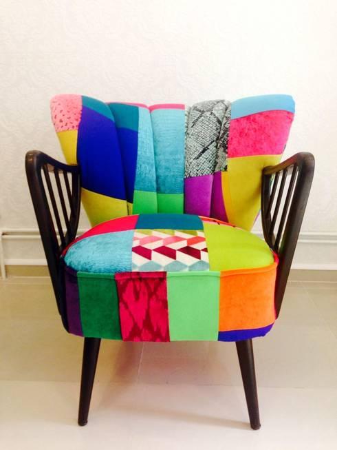 Fotel Klubowy Patchwork : styl , w kategorii Salon zaprojektowany przez Juicy Colors