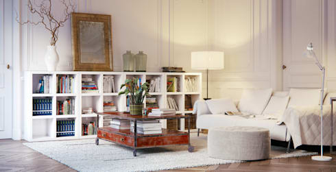 Book Shelving Unit: classic Living room by Piwko-Bespoke Fitted Furniture