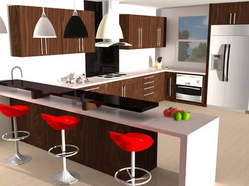 Walnut Modern Kitchen.: modern Kitchen by Piwko-Bespoke Fitted Furniture