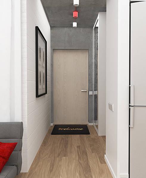 Маленькая квартира в стиле Лофт: Коридор и прихожая в . Автор – INCUBE Алексея Щербачёва