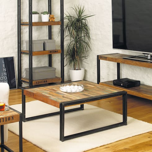 Industrial Square Coffee Table from our Urban Chic Range: industrial Living room by Big Blu Furniture