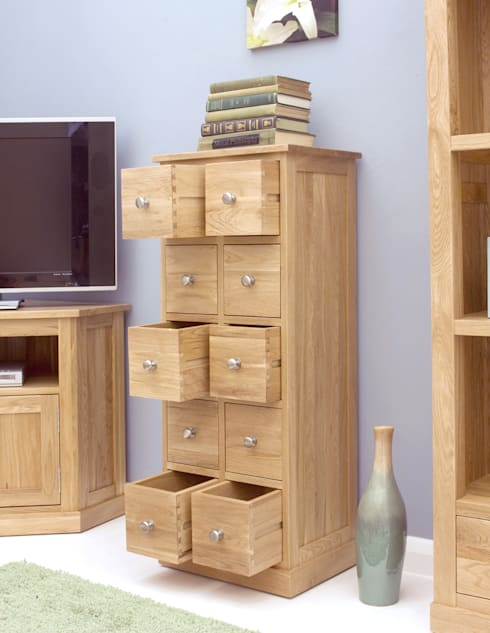 10 drawer oak DVD storage unit:  Multimedia room by Big Blu Furniture