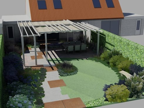 Kleine achtertuin als een moderne cottagestijl tuin door for Tuinontwerp door studenten