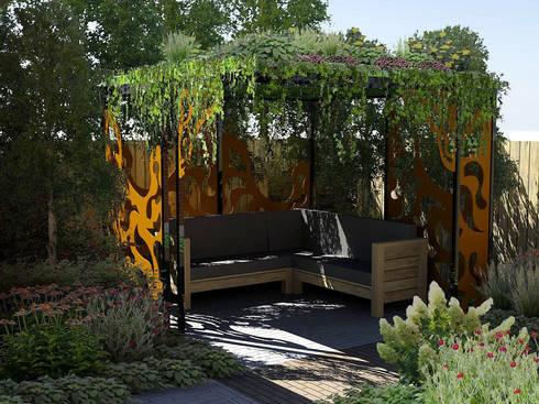 Paviljoen met een weeldering begroeid dak door bladgoud tuinen homify - Omslag van pergola ...