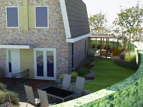 Kleine tuin bij hoekwoning in moderne cottage stijl door bladgoud tuinen homify - Omslag van pergola ...