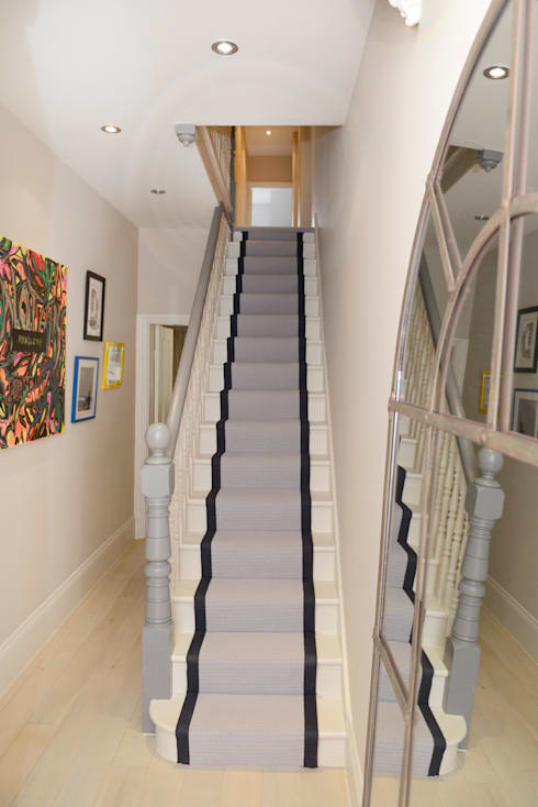 Corridor, hallway & stairs  by Ruth Noble Interiors
