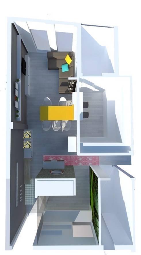 Propuesta de diseño para la distribución y organización espacial.:  de estilo  de Kiki Karam TuArquitectaPersonal