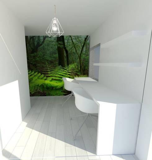 NewLook-oficina: Estudios y despachos de estilo moderno de Kiki Karam TuArquitectaPersonal