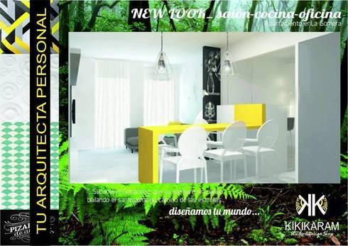 NewLook-Salón-cocina-despacho 3en1!: Salones de estilo moderno de Kiki Karam TuArquitectaPersonal