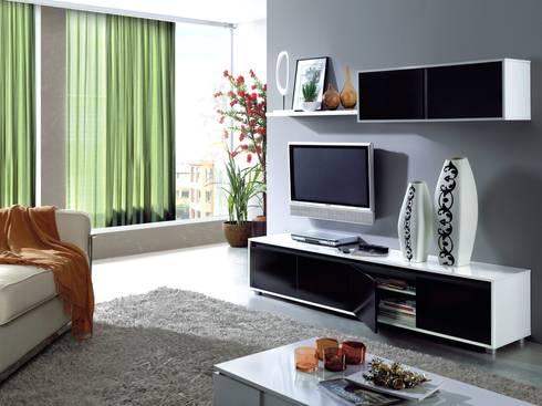 Conjunto de salón Alida color blanco brillo/negro, diseño moderno y minimalista.: Salones de estilo moderno de Icommers Every S.L.